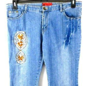 R2 PLUS EMBELLISHED HIPPIE BOOT CUT JEANS 38
